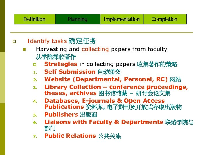 Definition p Planning Implementation Completion Identify tasks 确定任务 n Harvesting and collecting papers from