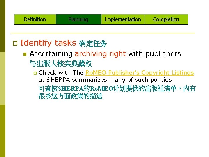 Definition p Planning Implementation Completion Identify tasks 确定任务 n Ascertaining archiving right with publishers