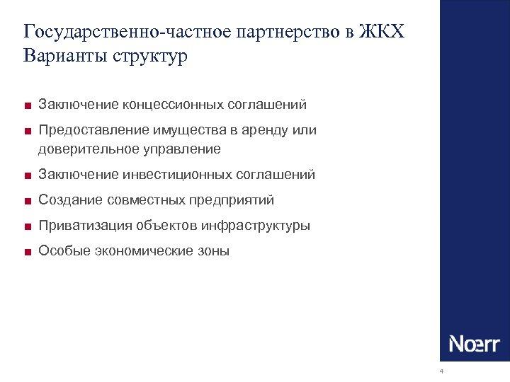 Государственно-частное партнерство в ЖКХ Варианты структур ■ Заключение концессионных соглашений ■ Предоставление имущества в