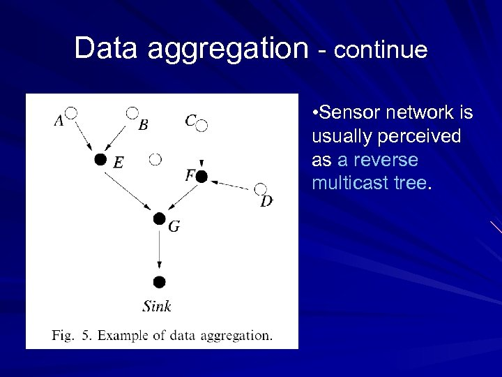 Data aggregation - continue • Sensor network is usually perceived as a reverse multicast