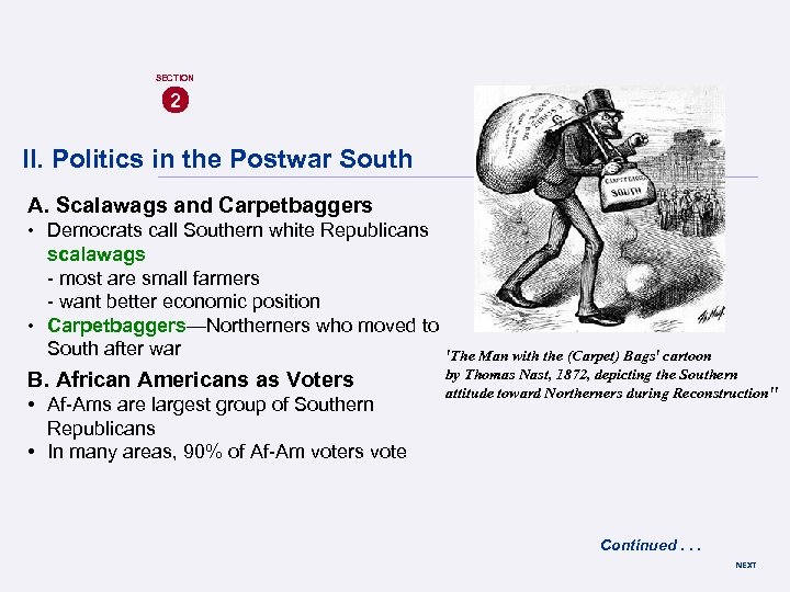SECTION 2 II. Politics in the Postwar South A. Scalawags and Carpetbaggers • Democrats