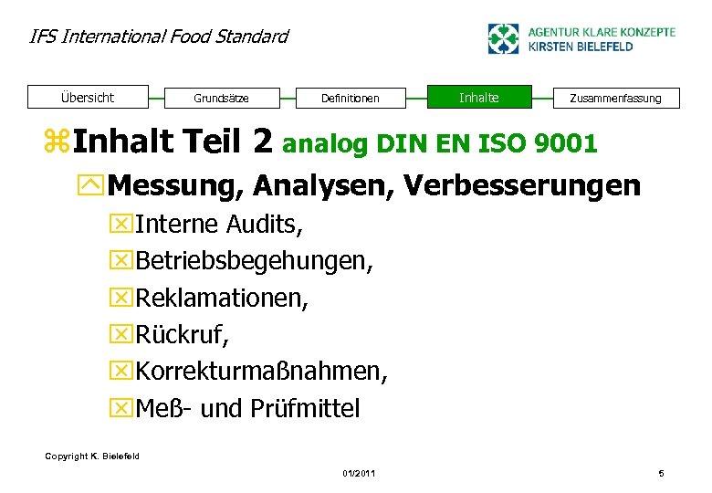 IFS International Food Standard Übersicht Grundsätze Definitionen Inhalte Zusammenfassung z. Inhalt Teil 2 analog