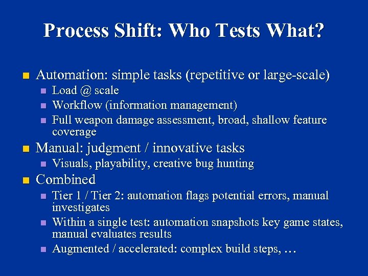 Process Shift: Who Tests What? n Automation: simple tasks (repetitive or large-scale) n n