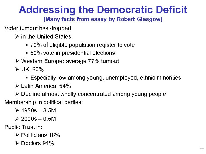 Addressing the Democratic Deficit (Many facts from essay by Robert Glasgow) Voter turnout has