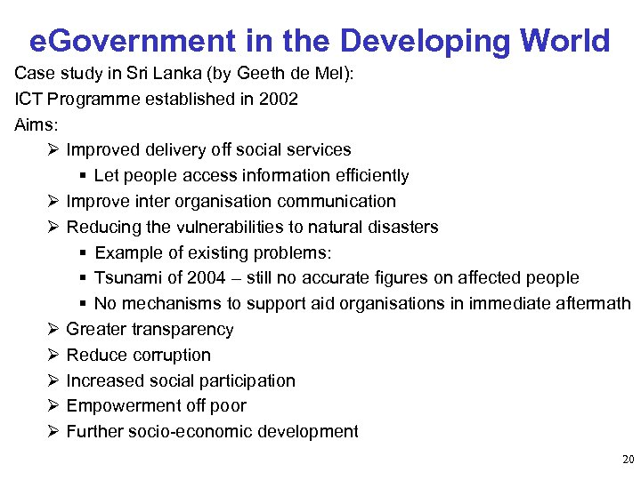 e. Government in the Developing World Case study in Sri Lanka (by Geeth de
