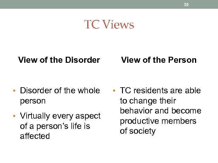 30 TC Views View of the Disorder • Disorder of the whole person •