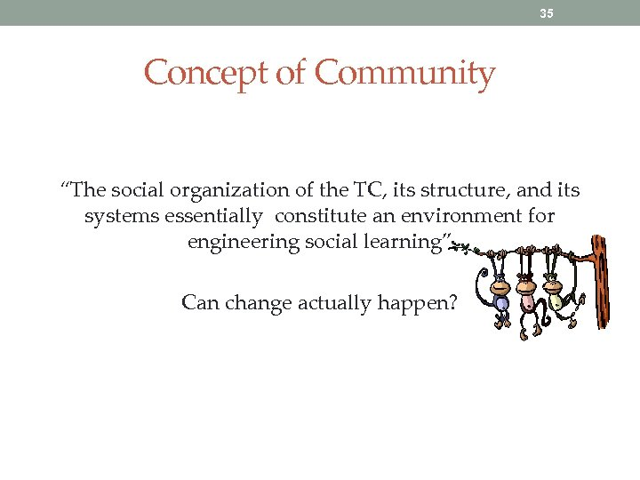 "35 Concept of Community ""The social organization of the TC, its structure, and its"