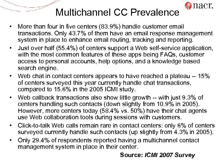 Multichannel CC Prevalence • More than four in five centers (83. 9%) handle customer