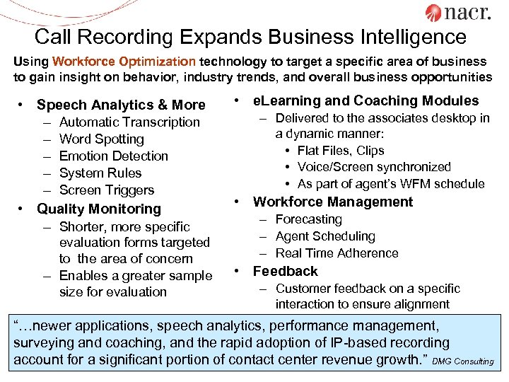 Call Recording Expands Business Intelligence Using Workforce Optimization technology to target a specific area