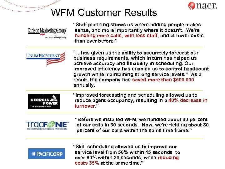"""WFM Customer Results """"Staff planning shows us where adding people makes sense, and more"""