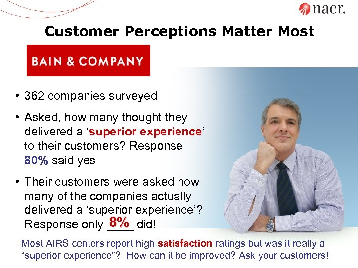 Customer Perceptions Matter Most • 362 companies surveyed • Asked, how many thought they