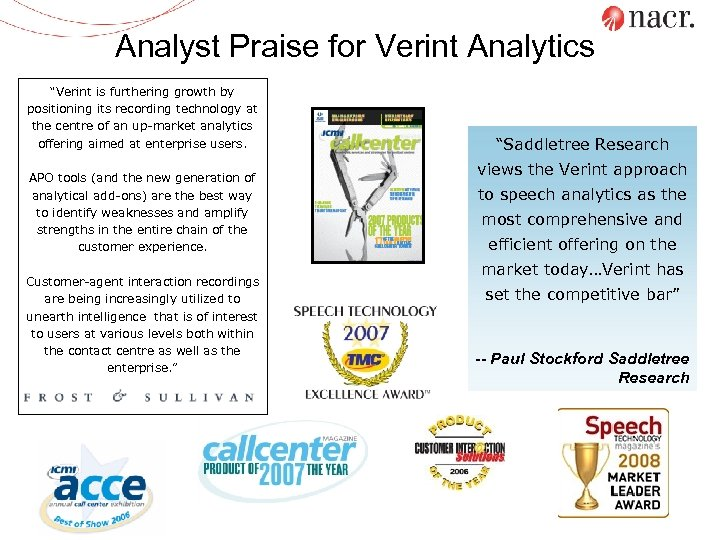 """Analyst Praise for Verint Analytics """"Verint is furthering growth by positioning its recording technology"""