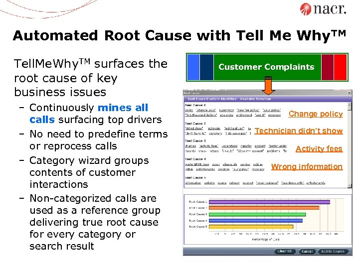 Automated Root Cause with Tell Me Why. TM Tell. Me. Why. TM surfaces the