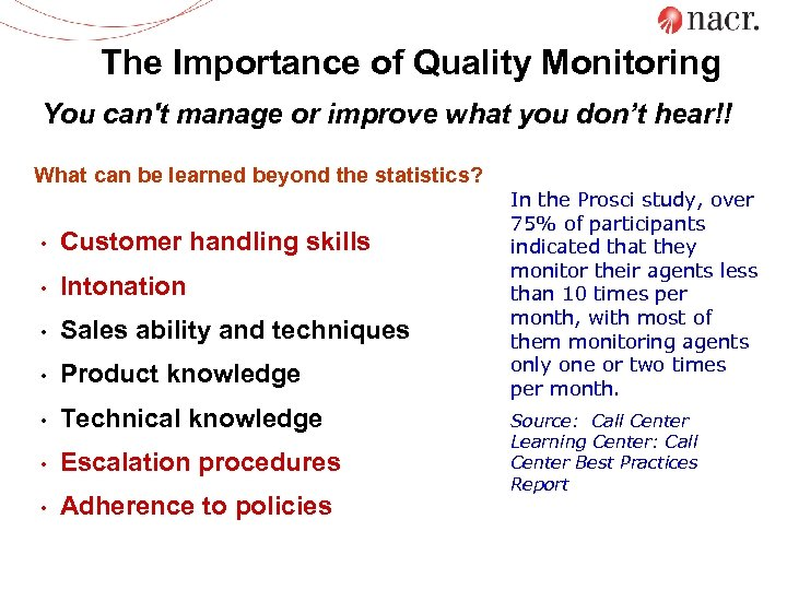 The Importance of Quality Monitoring You can't manage or improve what you don't hear!!