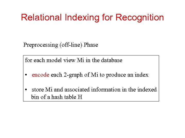 Relational Indexing for Recognition Preprocessing (off-line) Phase for each model view Mi in the