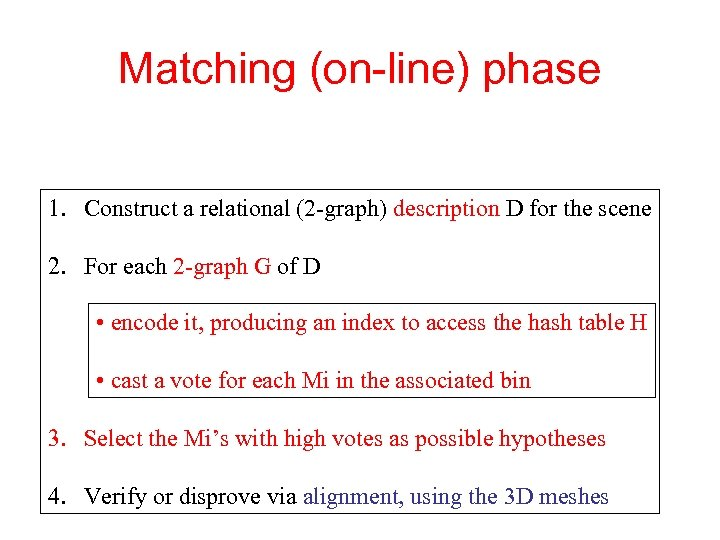 Matching (on-line) phase 1. Construct a relational (2 -graph) description D for the scene