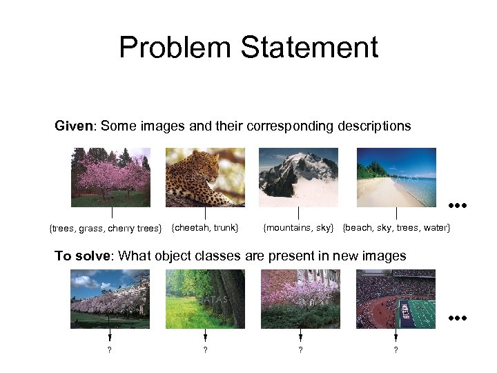 Problem Statement Given: Some images and their corresponding descriptions {trees, grass, cherry trees} {cheetah,