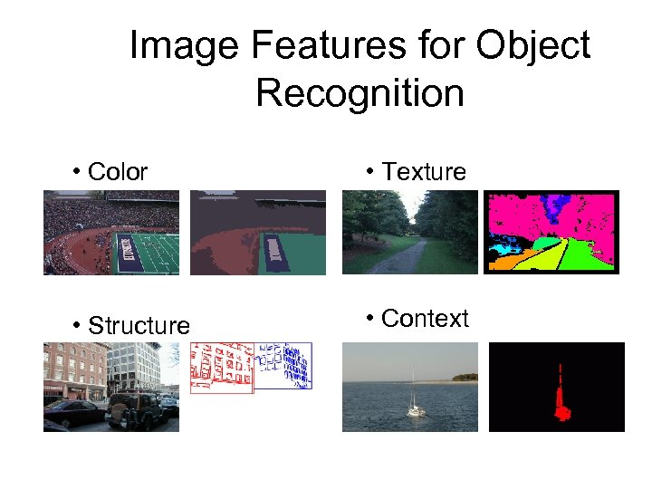 Image Features for Object Recognition • Color • Texture • Structure • Context