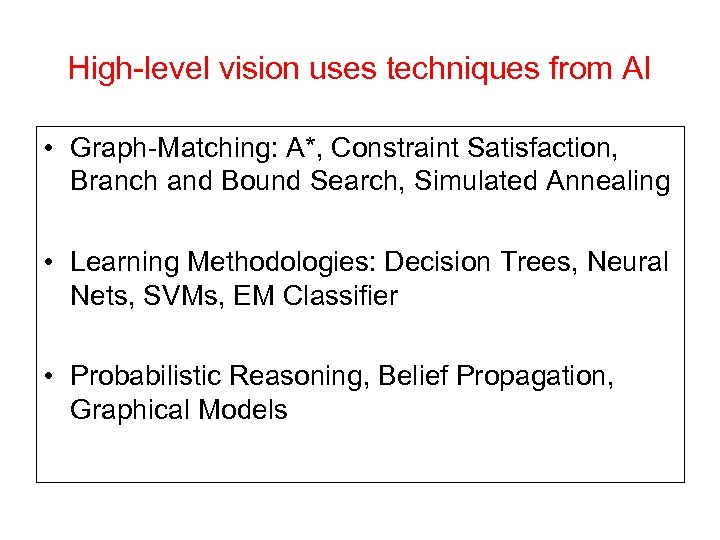 High-level vision uses techniques from AI • Graph-Matching: A*, Constraint Satisfaction, Branch and Bound