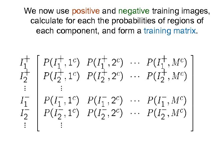We now use positive and negative training images, calculate for each the probabilities of