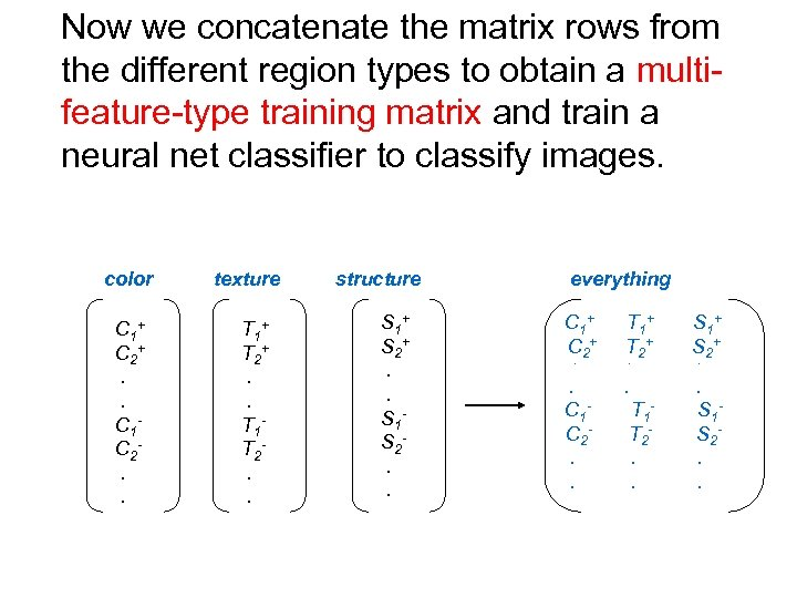 Now we concatenate the matrix rows from the different region types to obtain a