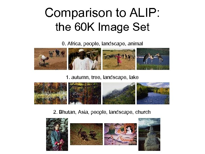 Comparison to ALIP: the 60 K Image Set 0. Africa, people, landscape, animal 1.