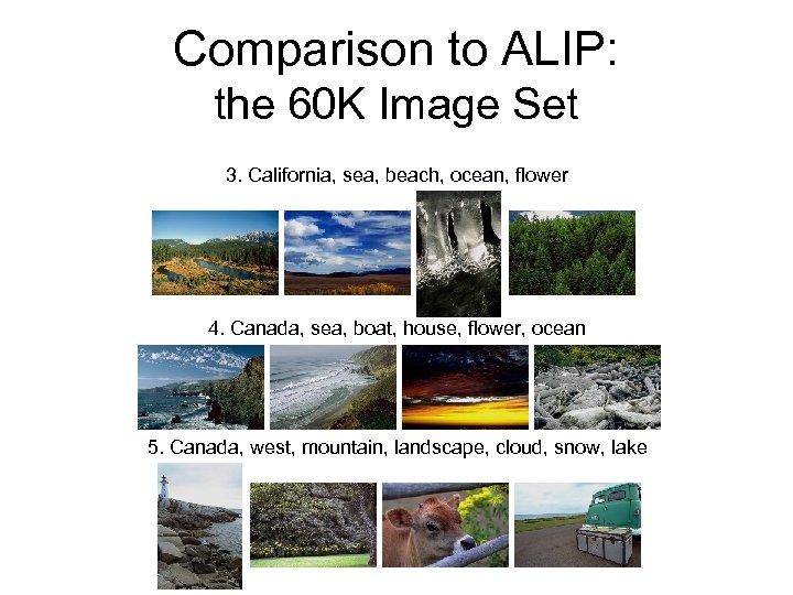 Comparison to ALIP: the 60 K Image Set 3. California, sea, beach, ocean, flower