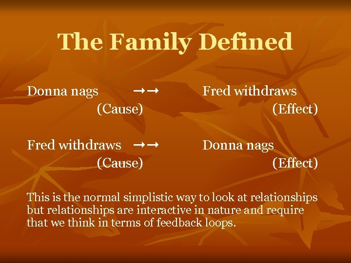The Family Defined Donna nags ➞➞ (Cause) Fred withdraws (Effect) Fred withdraws ➞➞ (Cause)