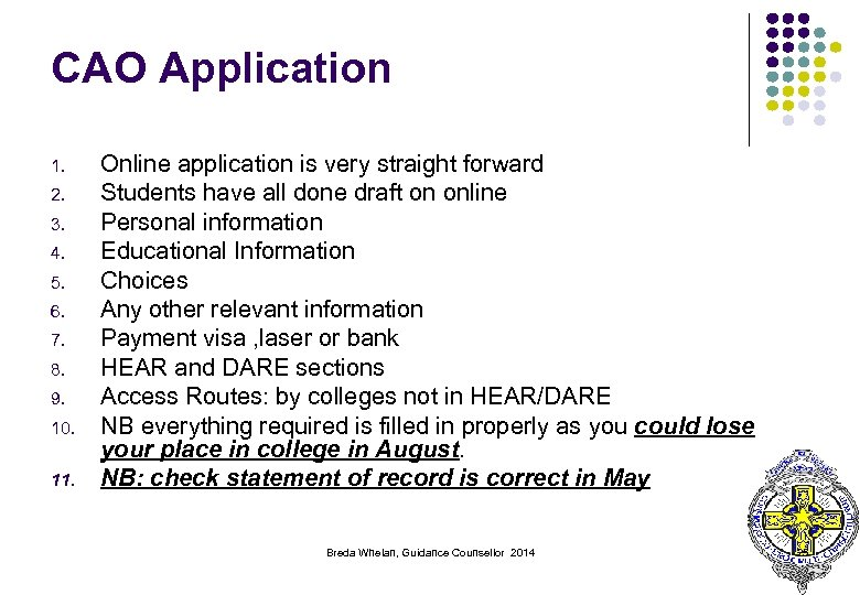 CAO Application 1. 2. 3. 4. 5. 6. 7. 8. 9. 10. 11. Online