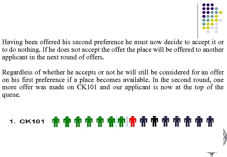 Having been offered his second preference he must now decide to accept it or
