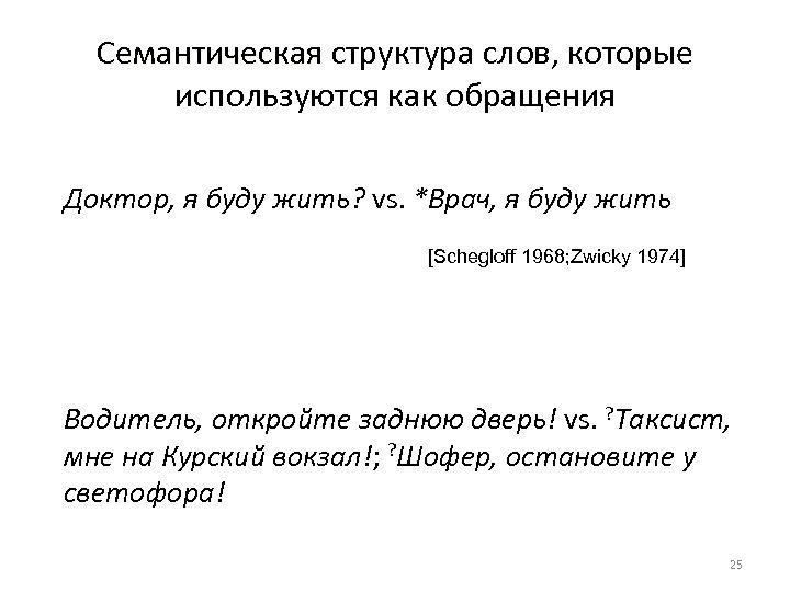 Семантическая структура слов, которые используются как обращения Доктор, я буду жить? vs. *Врач, я