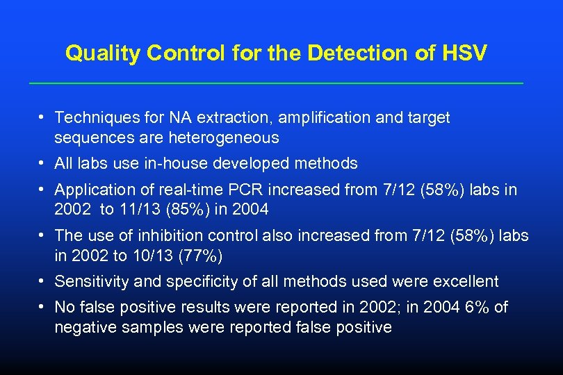 Quality Control for the Detection of HSV • Techniques for NA extraction, amplification and