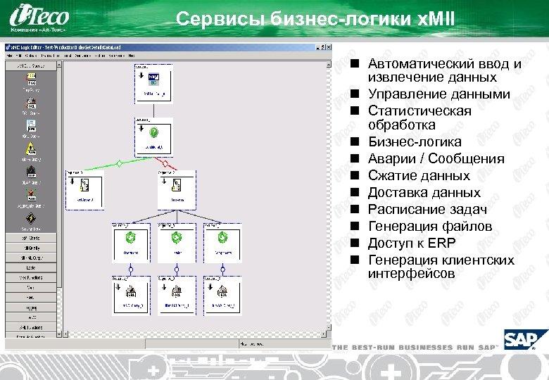 Сервисы бизнес-логики x. MII n Автоматический ввод и извлечение данных n Управление данными n