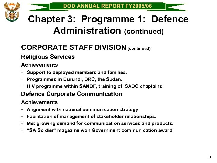DOD ANNUAL REPORT FY 2005/06 Chapter 3: Programme 1: Defence Administration (continued) CORPORATE STAFF