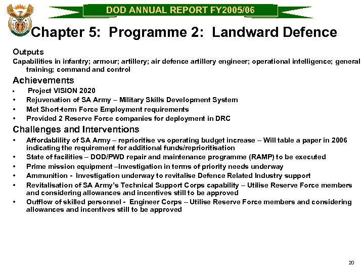 DOD ANNUAL REPORT FY 2005/06 Chapter 5: Programme 2: Landward Defence Outputs Capabilities in
