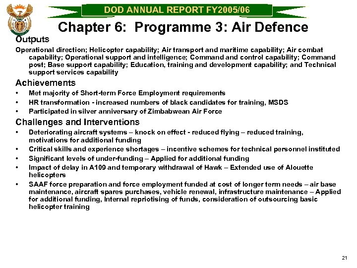 DOD ANNUAL REPORT FY 2005/06 Outputs Chapter 6: Programme 3: Air Defence Operational direction;