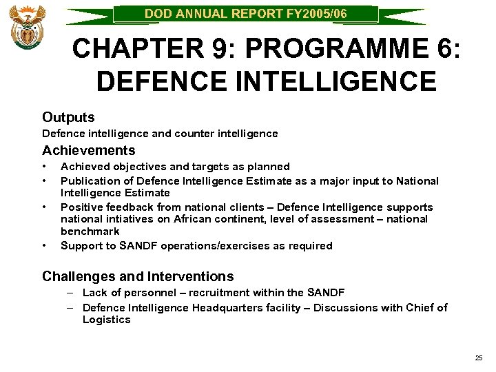 DOD ANNUAL REPORT FY 2005/06 CHAPTER 9: PROGRAMME 6: DEFENCE INTELLIGENCE Outputs Defence intelligence