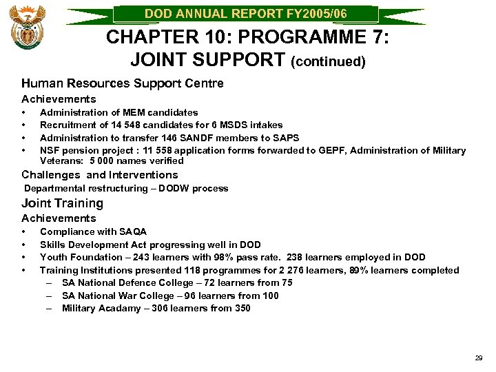 DOD ANNUAL REPORT FY 2005/06 CHAPTER 10: PROGRAMME 7: JOINT SUPPORT (continued) Human Resources