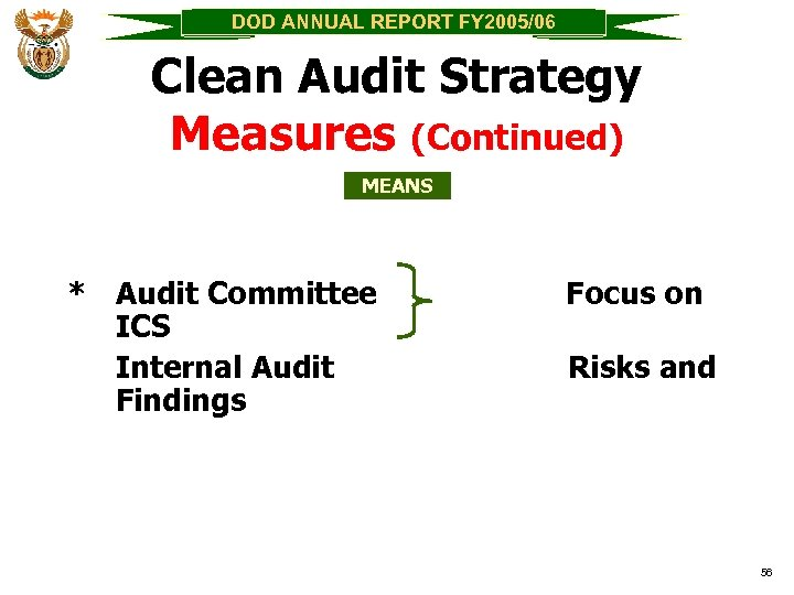 DOD ANNUAL REPORT FY 2005/06 Clean Audit Strategy Measures (Continued) MEANS * Audit Committee