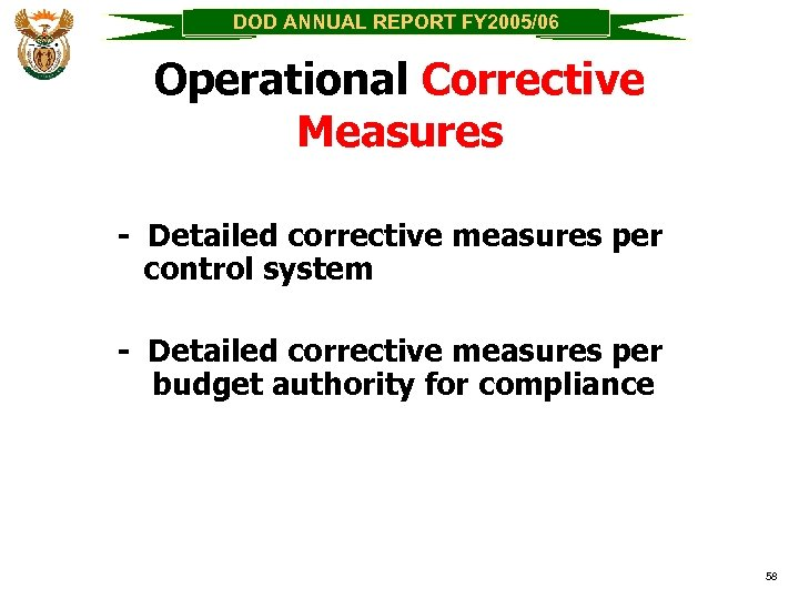 DOD ANNUAL REPORT FY 2005/06 Operational Corrective Measures - Detailed corrective measures per control