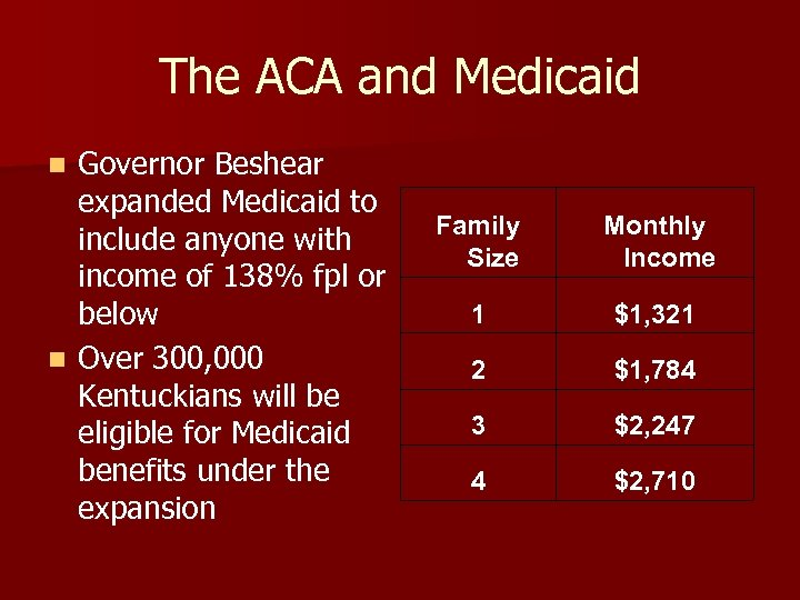 The ACA and Medicaid Governor Beshear expanded Medicaid to include anyone with income of