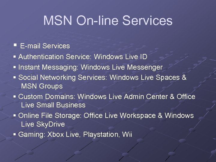 MSN On-line Services E-mail Services Authentication Service: Windows Live ID Instant Messaging: Windows Live