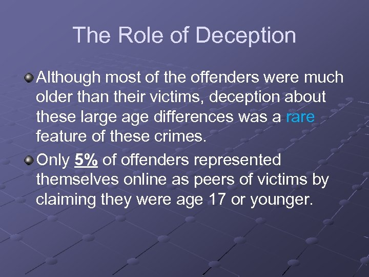The Role of Deception Although most of the offenders were much older than their