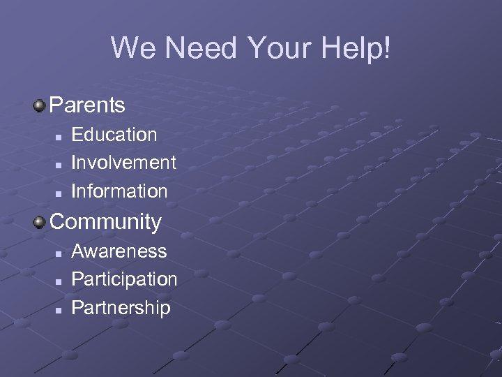 We Need Your Help! Parents n n n Education Involvement Information Community n n