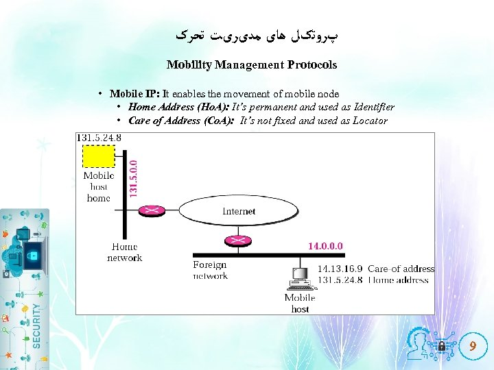 پﺮﻭﺗکﻞ ﻫﺎی ﻣﺪیﺮیﺖ ﺗﺤﺮک Mobility Management Protocols • Mobile IP: It enables the