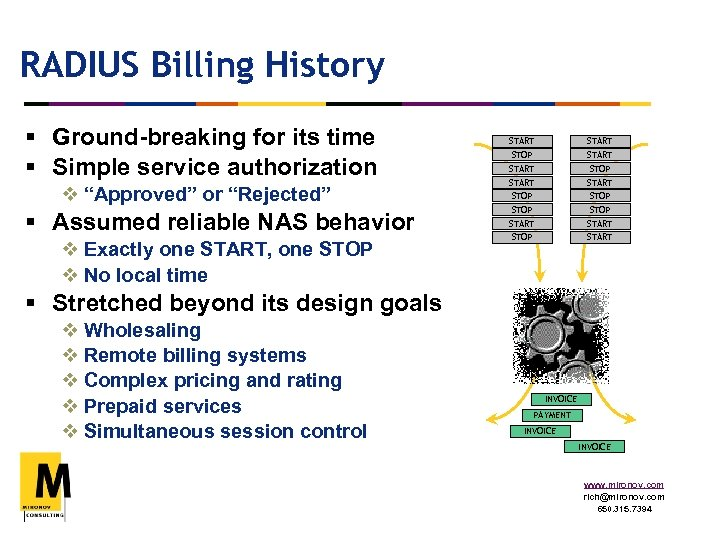 """RADIUS Billing History § Ground-breaking for its time § Simple service authorization v """"Approved"""""""