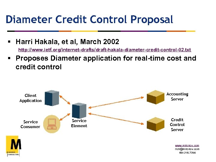Diameter Credit Control Proposal § Harri Hakala, et al, March 2002 http: //www. ietf.