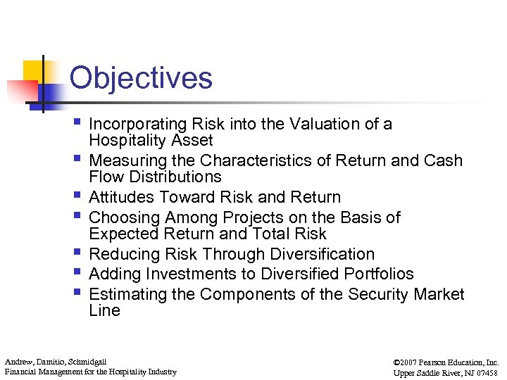 Chapter 6 Risk And Value In The Hospitality