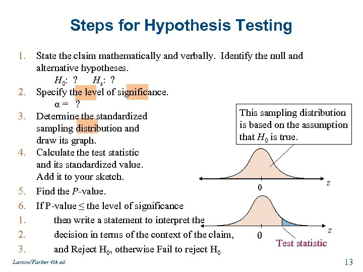 Steps for Hypothesis Testing 1. 2. 3. 4. 5. 6. 1. 2. 3. State