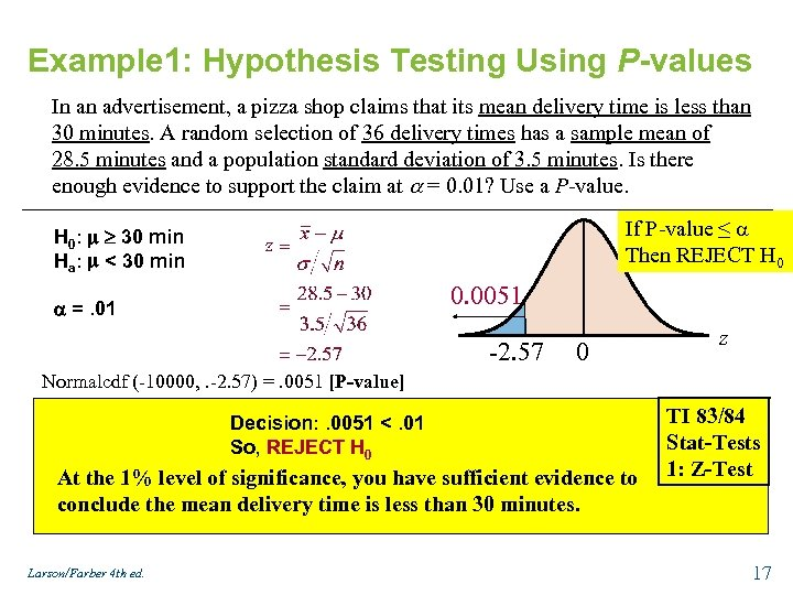 Example 1: Hypothesis Testing Using P-values In an advertisement, a pizza shop claims that